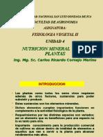 FISIO. VEG. II - UNIDAD 4 -  Nutrición mineral 2018.ppt