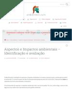 Aspectos e Impactos ambientais - Identificação e avaliação - Ambiente SST