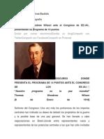 Discurso de Woodrow Wilson Ante El Congreso de EE.uu., Presentando Su Programa de 14 Puntos