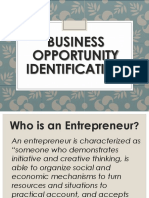 Chapter 3 - Lesson III Identification of Business Opportunities