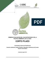 PRIMERA EVALUACIÓN DE LA POLÍTICA AMBIENTAL DE LA USAC
