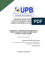 Diagnóstico y Propuesta de Mejora Para Los Tiempos de Servicio de La Mini Planta Logística, Planta Taquiña.