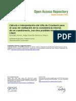 Cálculo e Interpretación Del Alfa de Cronbach Para El Caso de Validación de La Consistencia Interna de Un Cuestionario, Con Dos Posibles Escalas Tipo Likert
