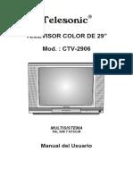 Manual TV Telesonic CTV-2906