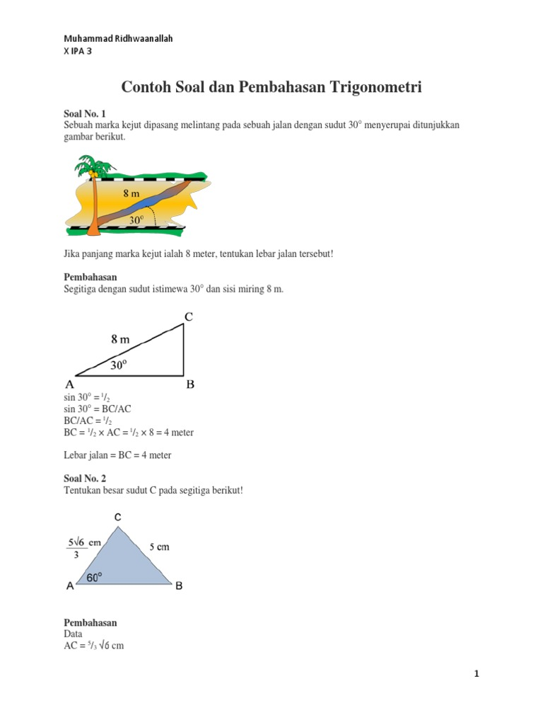 Contoh Soal Dan Pembahasan Trigonometri