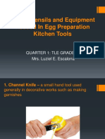 Tools, Utensils and Equipment Needed in Preparing Egg Dishes