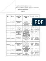Cronograma de Talleres Para El Fortalecimiento de La Vida Universitaria