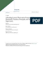 A Reading Lesson Observation Framework for Elementary Teachers P