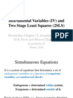 Econometrics II, Winter 2019, Lecture 8, Instrumental Variables and Two Stage Least Squares