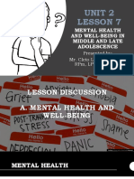 Mental Health and Well-being in Middle and Late Adolescence