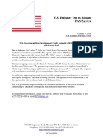20191007 -- Press Release -- Signing Ceremony of the USAID Tanzania Development Credit Authority (DCA) Agreement With Aman (1)