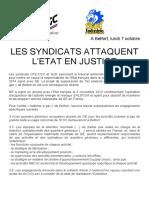 """Les syndicats de GE attaquent l'Etat français en justice"" (communiqué de presse du lundi 7 octobre 2019)"