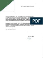Carta que ha escrit el pare Pere Sala als germans De la Mata