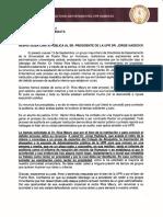 Carta que solicita el retiro de renuncia de Héctor Ríos Maury