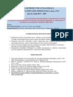 Educatie Tehnologica Cl. Vi 2019-2020