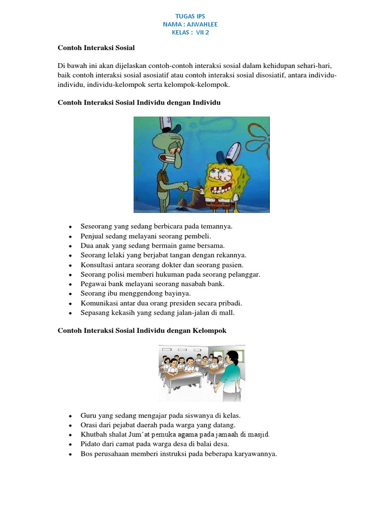 Contoh Interaksi Sosial Tugas Ips Nama Ajwahlee Kelas Vii 2