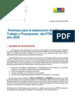 Premisas Del Plan 2020 Del Ptms
