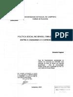 FagnaniEduardo Politica Social No Brasil Entre Cidadania e Caridade