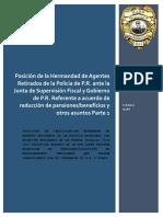 Memorial Posición HARP ante la Junta de Control Fiscal Sobre Reducción  de Beneficios/Pensiones  a Retirados de la Policía de P.R. y Otros P.1