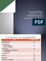 Criterios desempeño. Dialectos medievales