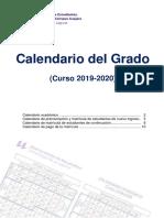 Calendario grado en magisterio infantil