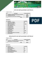 Presupuesto de Instalaciones Eléctricas