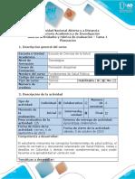 Guía de Actividades y Rúbrica de Evaluación - Tarea 1 - Planeación