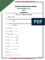CBSE Class 5 Mathematics Worksheet- Decimal and Average