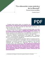 2. Korol, Claudia (2007). La Educación Como Práctica de La Libertad Nuevas Lecturas Posibles
