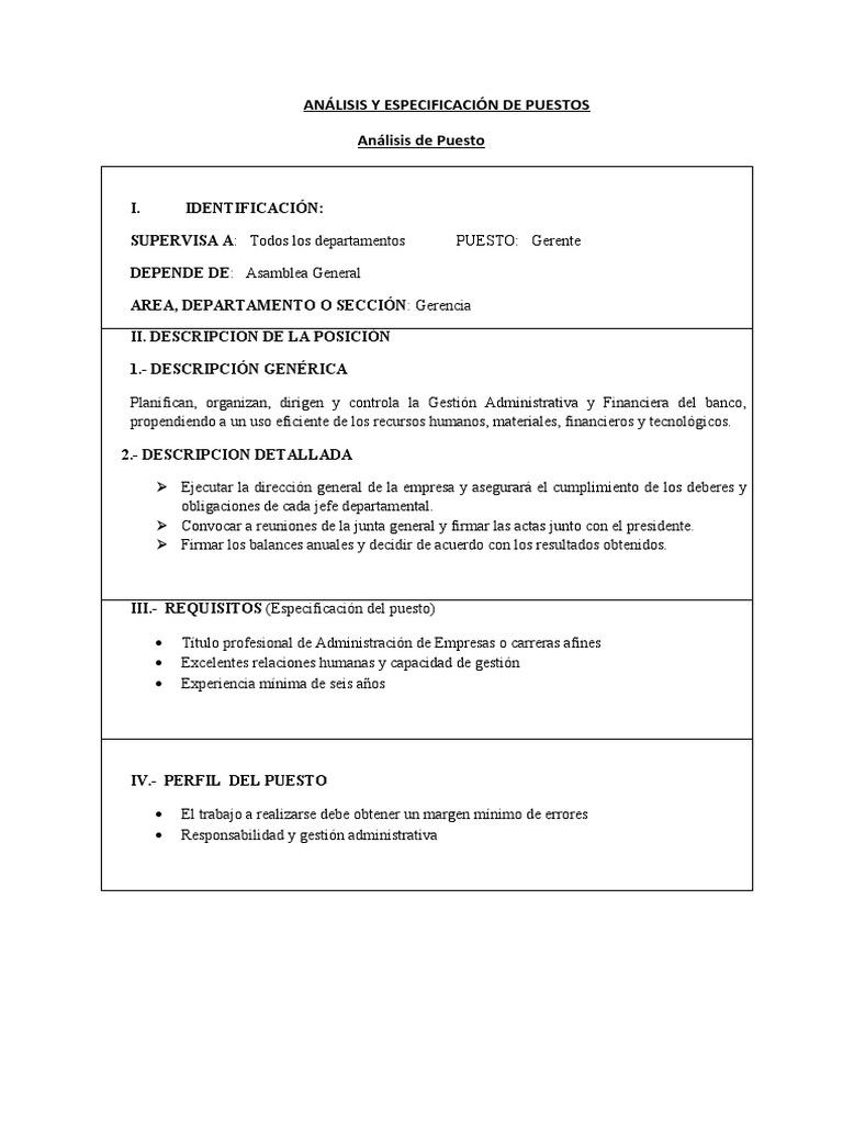 Ejemplos de Analisis Descripcion y Especificacion de Puestos