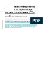 Pre-commissioning Checks and Tests of High Voltage Current Transformers (CTs)