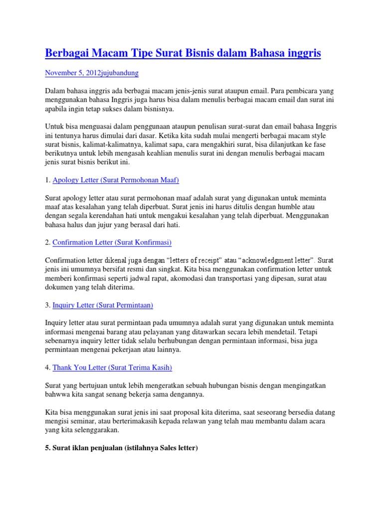 Berbagai Macam Tipe Surat Bisnis Dalam Bahasa