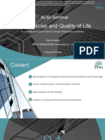 Public Policies and Quality of Life – An Overview and Outlook of People's Republic of China's Transport Infrastructure Investment