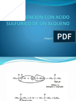 hidratacion con acido sulfurico de un alqueno