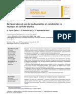 Revisión Sobre El Uso de Medicamentos en Condiciones No Incluidas en Su Ficha Técnica