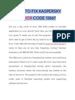 HOW TO FIX KASPERSKY ERROR CODE 1306?