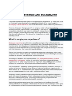 EMPLOYEE EXPERIENCE AND ENGAGEMENT