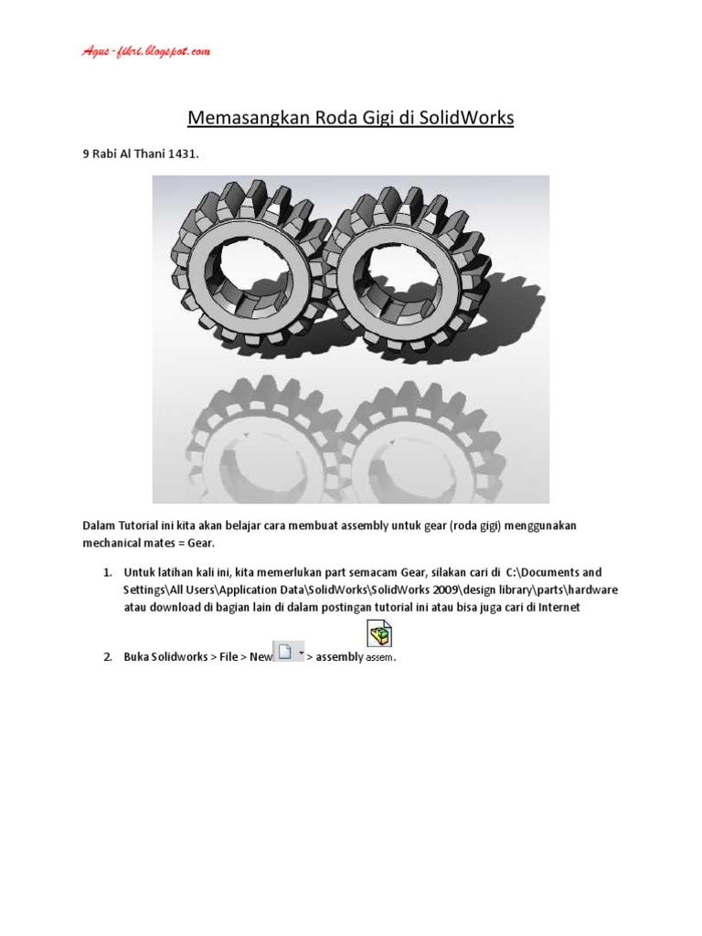 Memasangkan Roda Gigi Di Solidworks: 9 Rabi Al Thani 1431