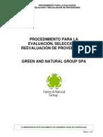 Procedimiento de Evaluación, Selección y Re-evaluación de Proveedores