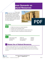 Human Demand on Natural Resources