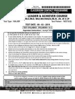 Allen 2018 leader test series Q paper