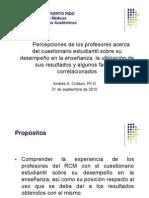 Percepción de Profesores acerca de Cuestionario Estudiantil sobre su desempeño - Presentación ante CIPE - 21 de septiembre de 2010