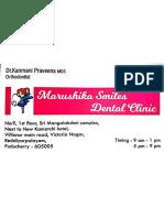 Praveena Clinic Visiting Card