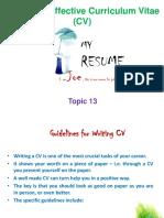 Topic 13 (CV's)