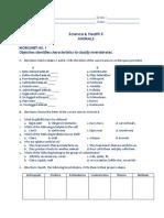 Science v - Worksheets - 2nd Quarter