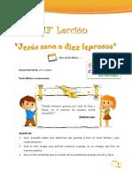 13° Lección - 18 y 19 de Mayo Jesus sana 10 leprosos