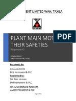 Plant Main Motors Specification & Safeties