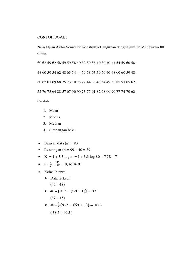 154298212 Contoh Soal Mean Median Modus Fix Docx 1 Docx