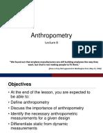 IE 160 Anthropometry