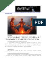 Resumo Das Tábuas Sumérias. o Legado Dos Senhores Do Mundo